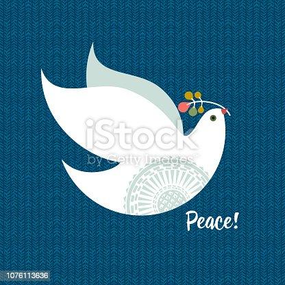 Christmas Dove. Vector illustration.