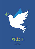 Peace Dove with branch. Merry Christmas and winter holidays card design. Vector illustration.