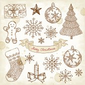 Sketched Christmas elements.EPS 10 file contains transparencies.File is grouped,layered with global colors.  More works like this linked below.