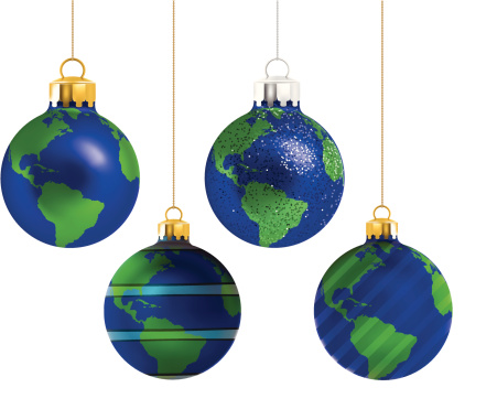 Christmas Earth Ornaments - Vector Illustration