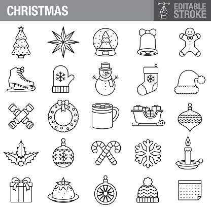 Christmas Editable Stroke Icon Set