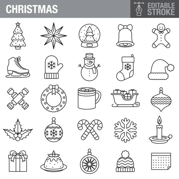 Christmas Editable Stroke Icon Set A set of editable stroke thin line icons. File is built in the CMYK color space for optimal printing. The strokes are 2pt and fully editable: Make sure that you set your preferences to 'Scale strokes and effects' if you plan on resizing! christmas icons stock illustrations