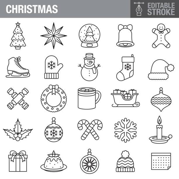 christmas editable stroke icon set - holiday season stock illustrations