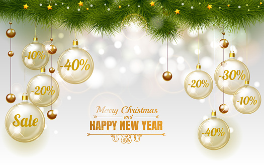 Christmas Elegant gold Design Template of Holiday Sale, Glass christmas balls on white background with snowflake stars and christmas tree, Sale 10 , 20 , 30 , 40 . Merry Christmas and happy new year