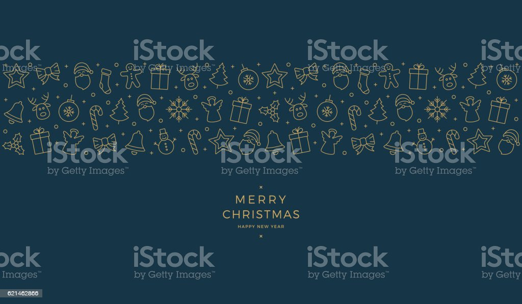 christmas element icons gold blue banner background - ilustración de arte vectorial