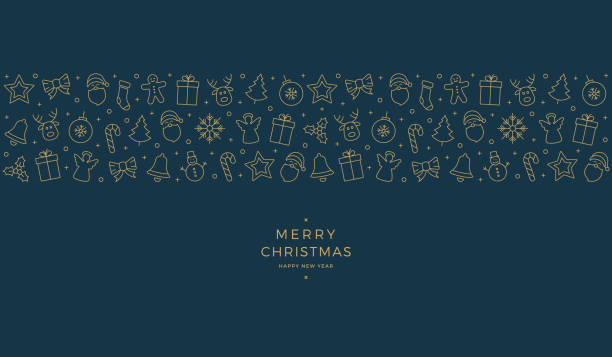 christmas element icons gold blue banner background - weihnachten stock-grafiken, -clipart, -cartoons und -symbole