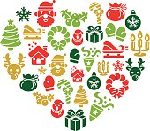 Christmas Element Icons in Heart Shape