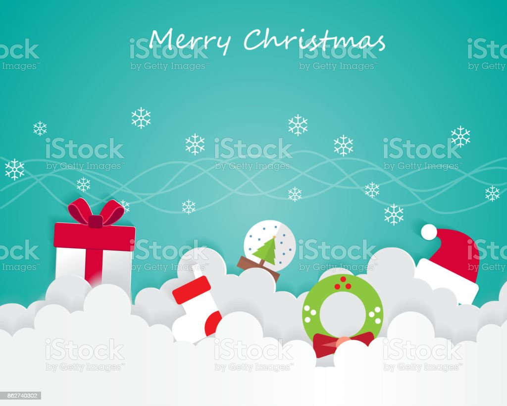 Christmas Element On Sky and Greeting Card Background Illustration vector art illustration