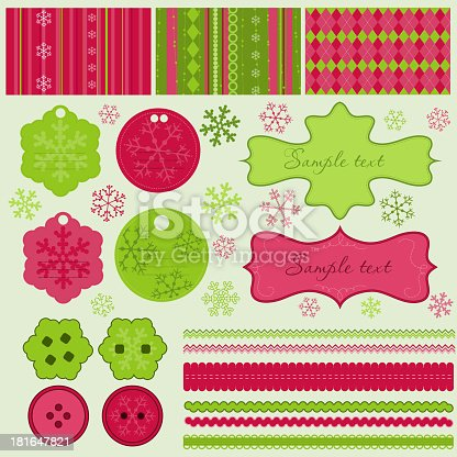 istock Christmas elements and patterns, vector 181647821