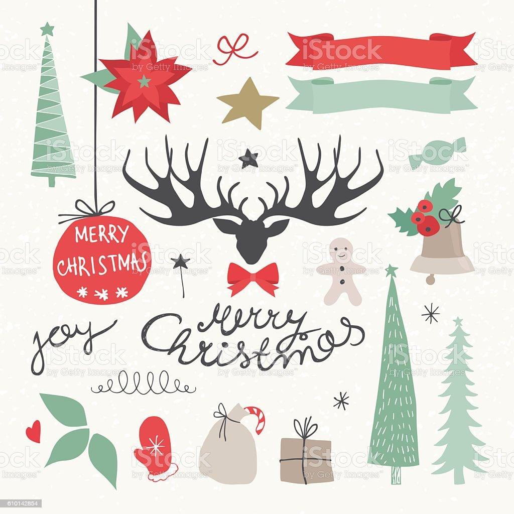 Christmas Elements and Symbols. Vectors illustration christmas elements and symbols vectors illustration vecteurs libres de droits et plus d'images vectorielles de arbre libre de droits