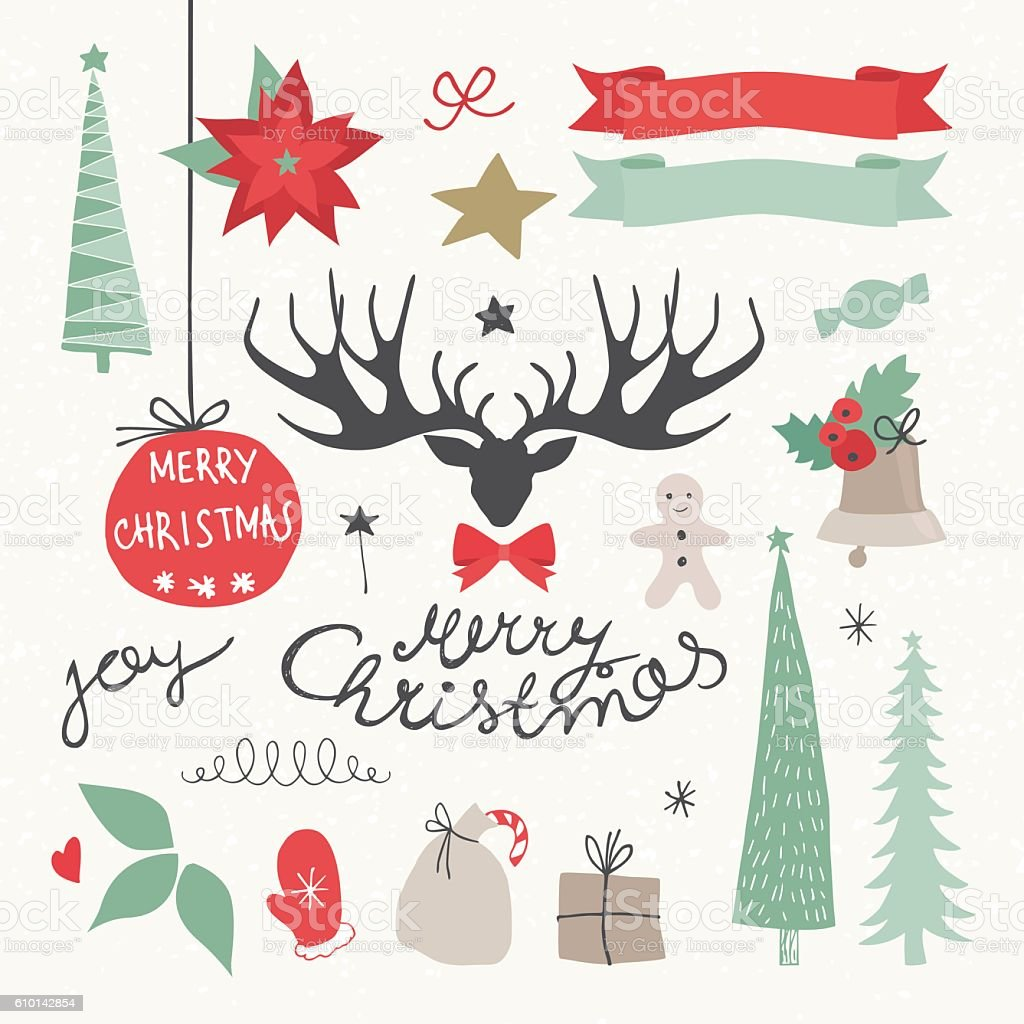 Christmas Elements and Symbols. Vectors illustration