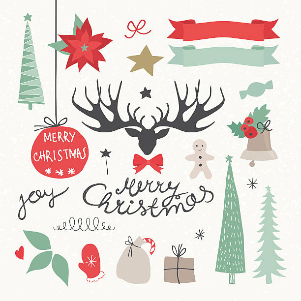 Christmas Elements and Symbols. Vectors illustration Vector Illustration.EPS10, Ai10, PDF, High-Res JPEG included. Christmas Elements and Holidays symbols. Deer, Christmas flower, Christmas Tree, Ribbons, Gifts,and Christmas wishes. candy clipart stock illustrations