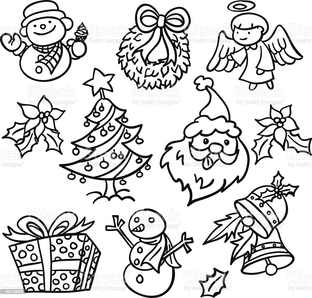 Christmas elements coolection in black and white royalty-free stock vector art