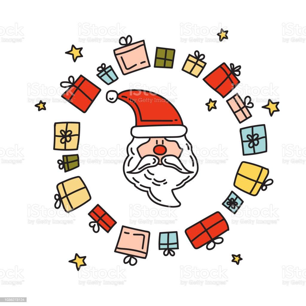 Christmas Elements Doodle Drawing Santa Claus Christmas Gifts Royalty Free Christmas Elements Doodle Drawing Santa