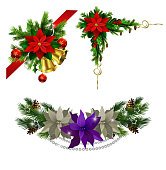 Christmas decoration set with evergreen treess pine cones and poinsettia isolated vectorChristmas decoration set with evergreen treess pine cones and poinsettia isolated vector