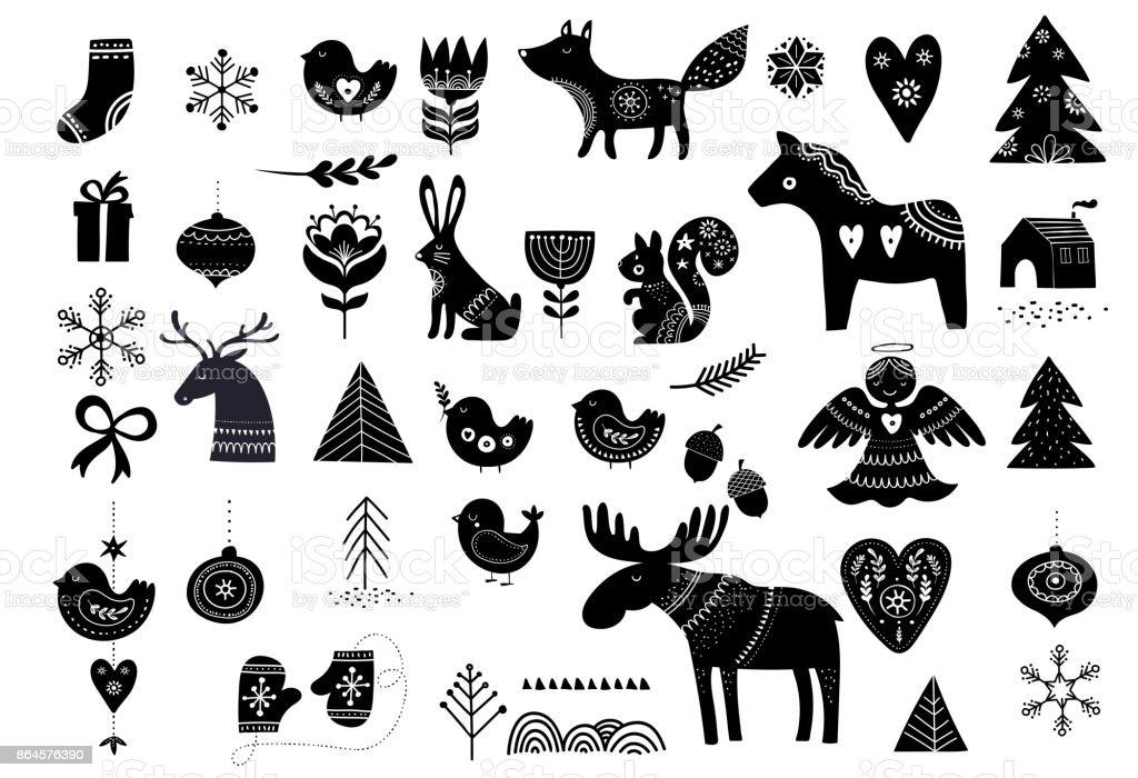Christmas elements in Scandinavian style vector art illustration