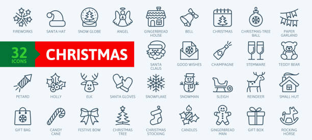 Christmas elements - minimal thin line web icon set. Outline icons collection. Simple vector illustration. Christmas elements - minimal thin line web icon set. Outline icons collection. Simple vector illustration. christmas icons stock illustrations