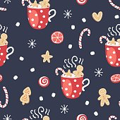 Christmas elements seamless pattern with gingerbread cookies and cocoa. Traditional design. Vector illustration.