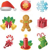 Vector illustrations of christmas related elements