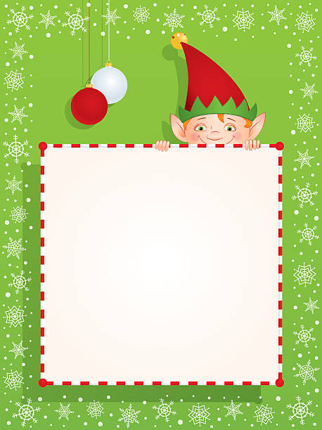 Christmas elf behind a blank banner Vector cartoon illustration of a Christmas Elf hiding behind a blank banner. Place for text on a white background. Vertical format. christmas fun stock illustrations