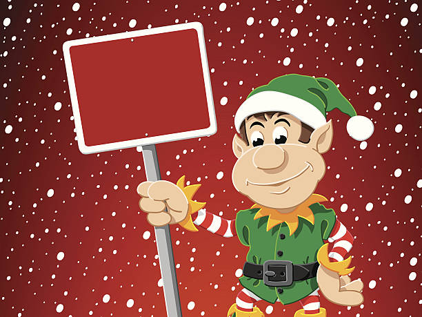 Christmas Elf Blank Sign Snowing Winter Vector Illustration of a cute Christmas Elf with a blank red sign in front of a snowy sky. All objects are on separate layers. The colors in the .eps-file are ready for print (CMYK). Included files are EPS (v10) and Hi-Res JPG. cartoon people sign stock illustrations