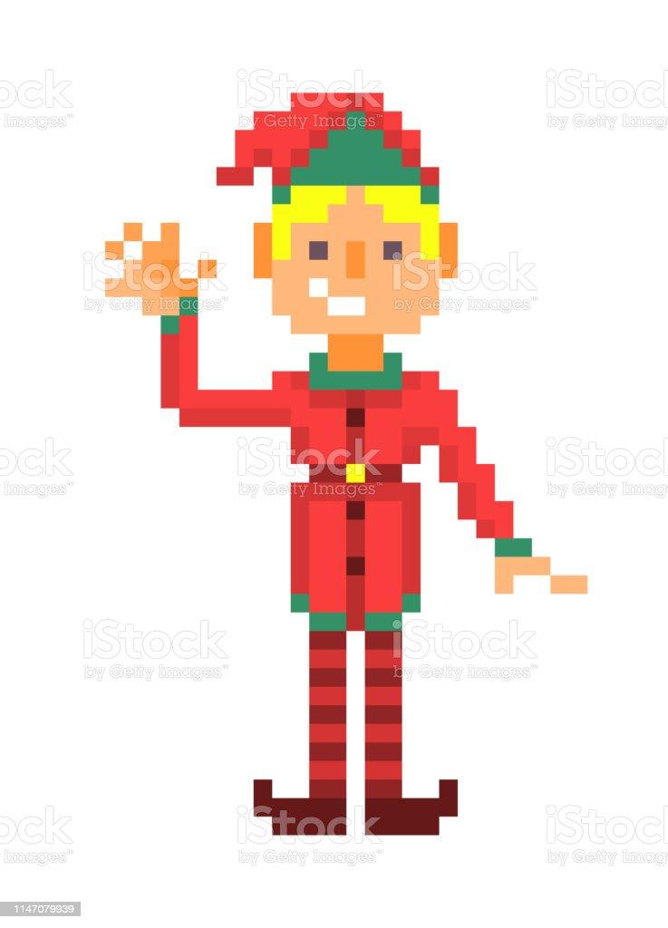 Garçon De Lutin De Noël Agitant Pixel Art Personnage Isolé