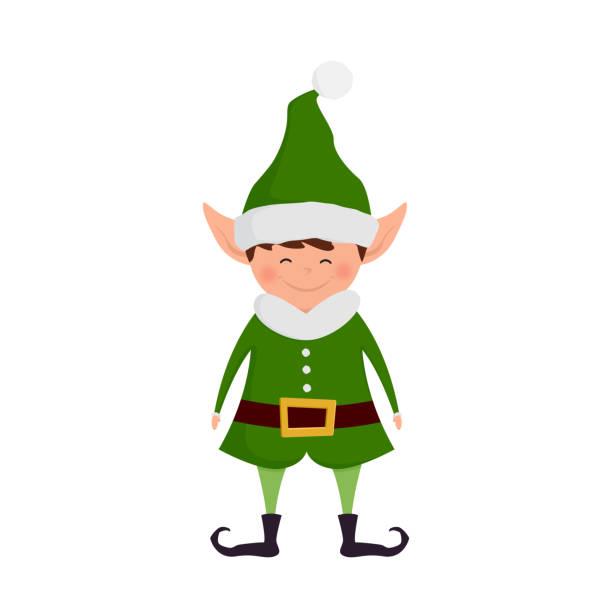 Christmas elf cartoon character. Vector illustration. vector art illustration