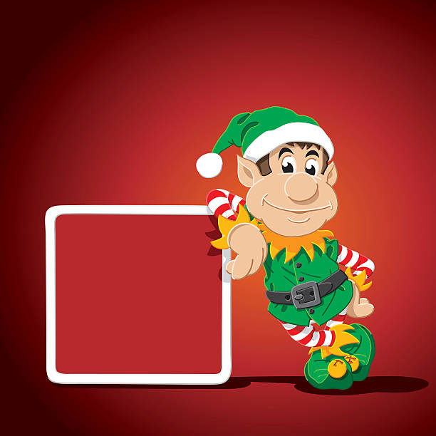 Christmas Elf Cartoon Man Leaning Sign Vector Illustration of a Cartoon Christmas Elf, who is leaning against a blank sign, where you can place your own text. The Character, the sign and the background are on separate layers, so you easily can use the character within your own design. The colors in the .eps-file are ready for print (CMYK). Included files: EPS (v8) and Hi-Res JPG. cartoon people sign stock illustrations