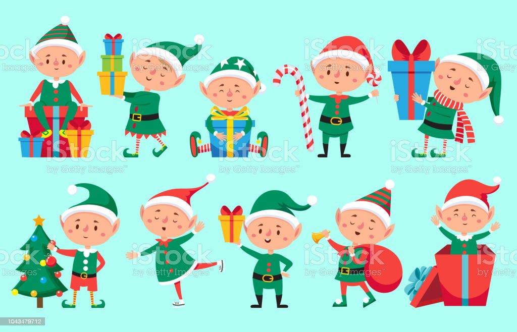 Christmas Elf Character Cute Santa Claus Helpers Elves Funny Xmas ...