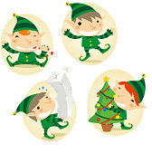 Christmas Elf Elve Elves in Action Set Candy Cane Tree