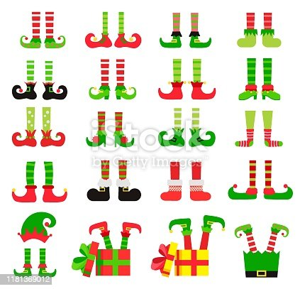 Christmas elf feet set, vector illustration. Collection of cute elves legs, boots, socks.  Santa helpers shoes and pants. With gifts, presents, hat. Isolated on white background