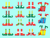 Christmas elf feet. Shoes for elves foot, Santa Claus helpers dwarf leg in pants. Xmas present and gifts isolated vector set