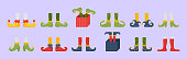 Christmas elf feet and legs set, decoration for celebration. Collection of cute elves legs, boots, socks. Santa helpers shoes and pants with gifts, presents. Christmas gnome bundle. Vector.
