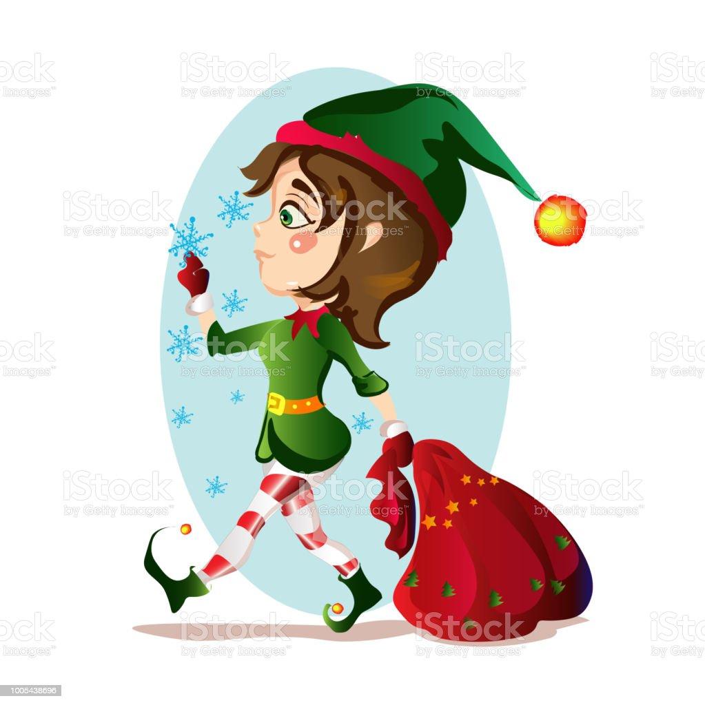 Christmas Elf Girl Bears For A Big Bag Of Gifts Vector Illustration ...