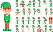 Christmas Elf Girl Santa Claus Helper in Different Poses and Actions Teen Characters Set Icons New Year Gift Holiday Flat Design Vector Illustration