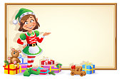 Christmas Elf Girl With Sign