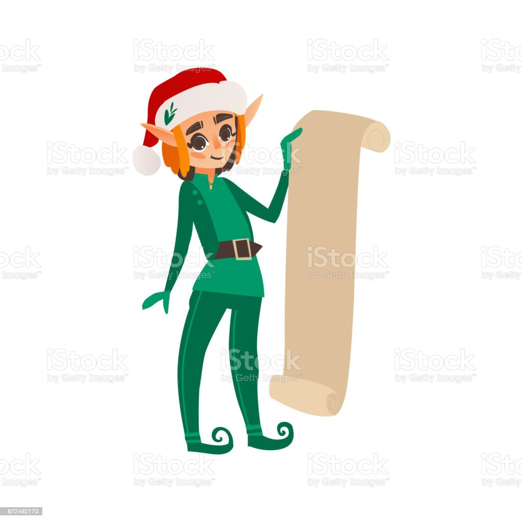 Christmas Elf Holding A Long Present List Scroll Stock Vector Art ...
