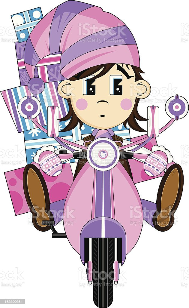 Christmas Elf on Retro Scooter royalty-free stock vector art