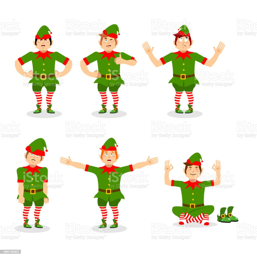 Christmas Elf Set Of Poses Various Movements Assistant Of Santa ...