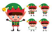 Christmas elf vector character set. Young boy elves cartoon charcaters