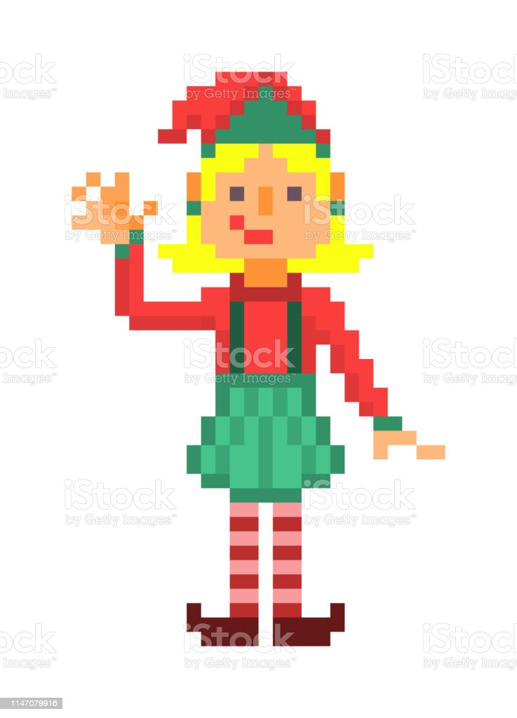 Christmas Elf Waving Pixel Art Character Isolated On White