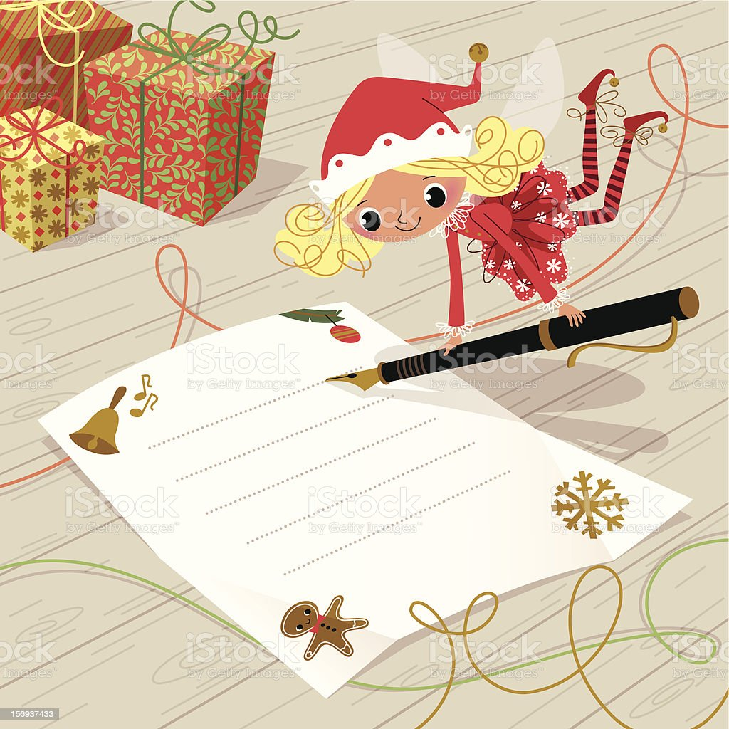 Christmas Elf with Pen. royalty-free christmas elf with pen stock vector art & more images of announcement message