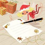 Elf  writing greetings.