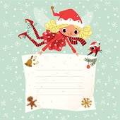 Elf holding a Christmas Placard.