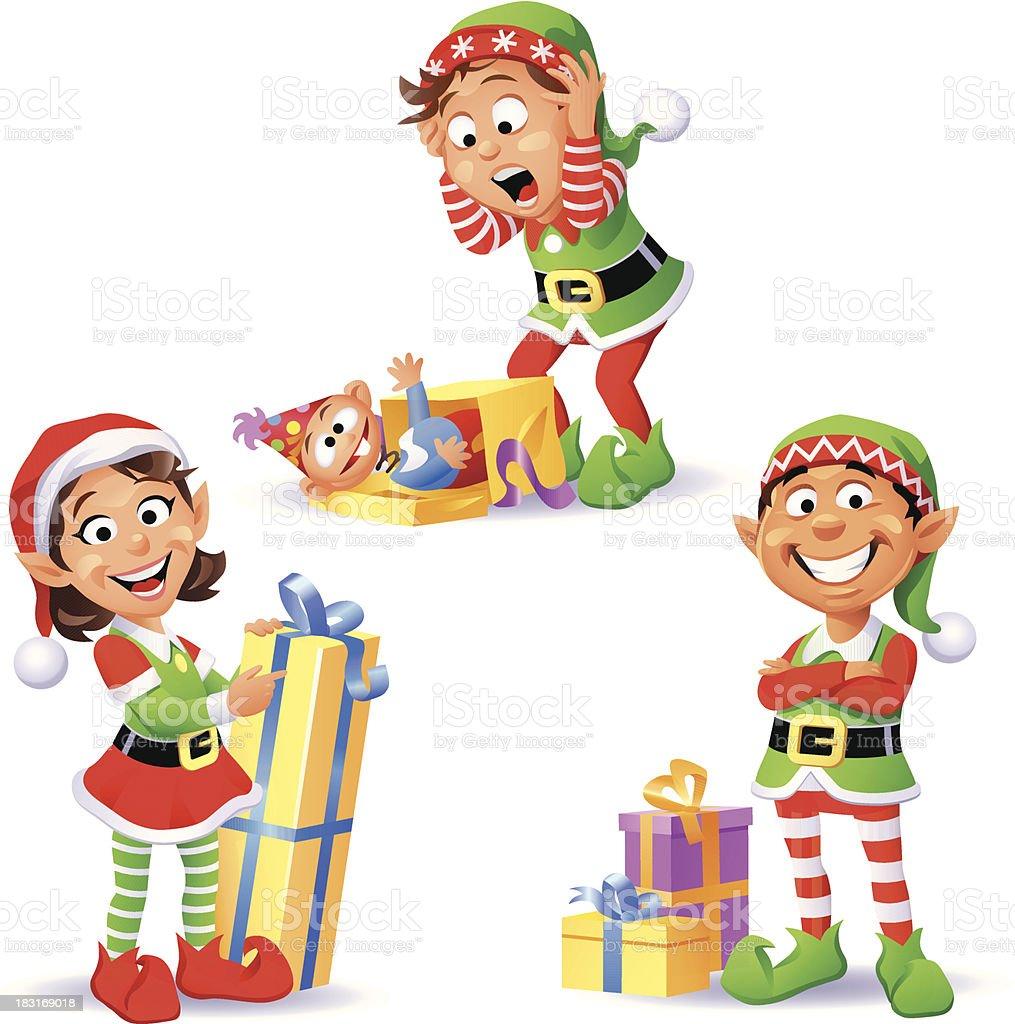 Christmas Elves 3 royalty-free stock vector art