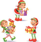 Three cute Christmas Elves isolated on white. EPS 8, fully editable, grouped and labeled in layers.
