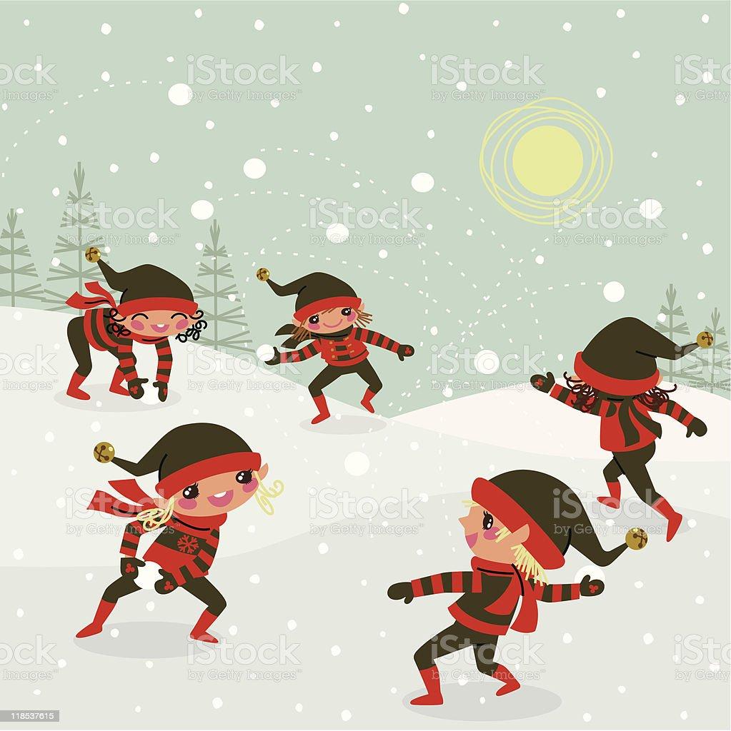Natal elfos e bolas de neve voo. - ilustração de arte em vetor