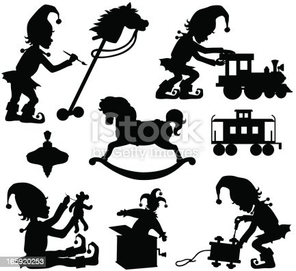 Christmas Elves and Toys silhouettes including an elf sewing a teddy bear, painting, building toys, and toys including a rocking horse, hobby horse, trains, top, and jack in the box.