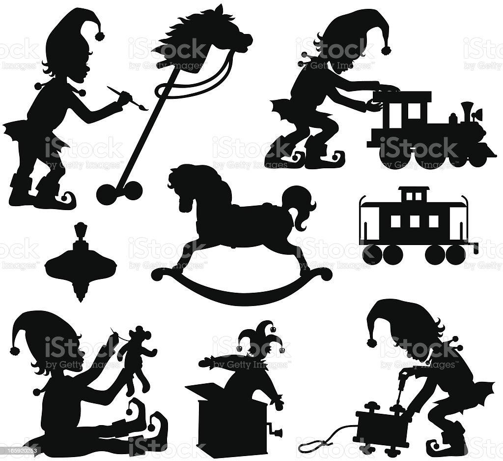 Christmas Elves and Toys vector art illustration