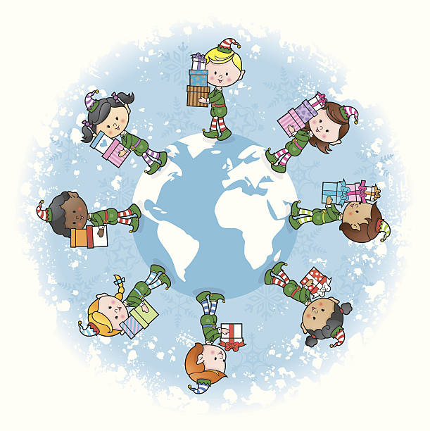 Christmas elves around the world vector art illustration